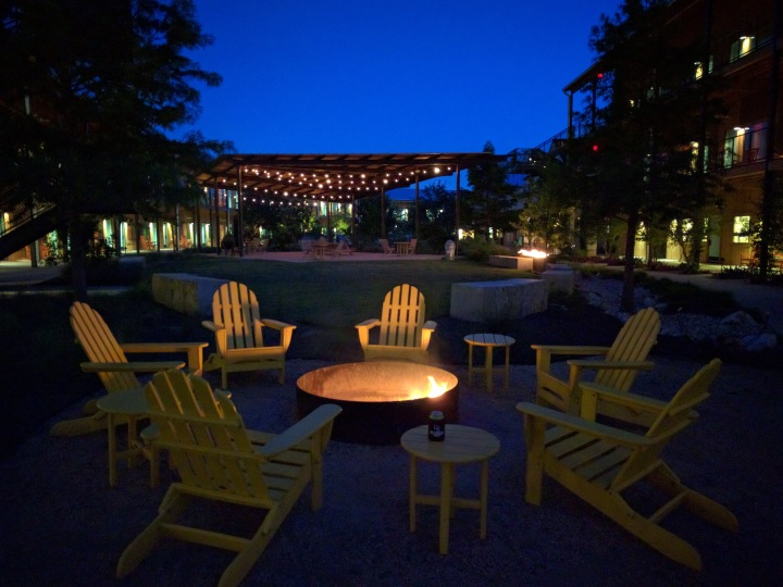 Firepit and outdoor space at night