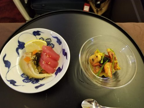Kelp marinated tuna and sea bream and simmered lobster with sea urchin