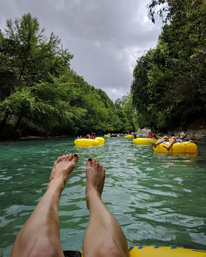 Tubing down the Comal River past the 2nd chute