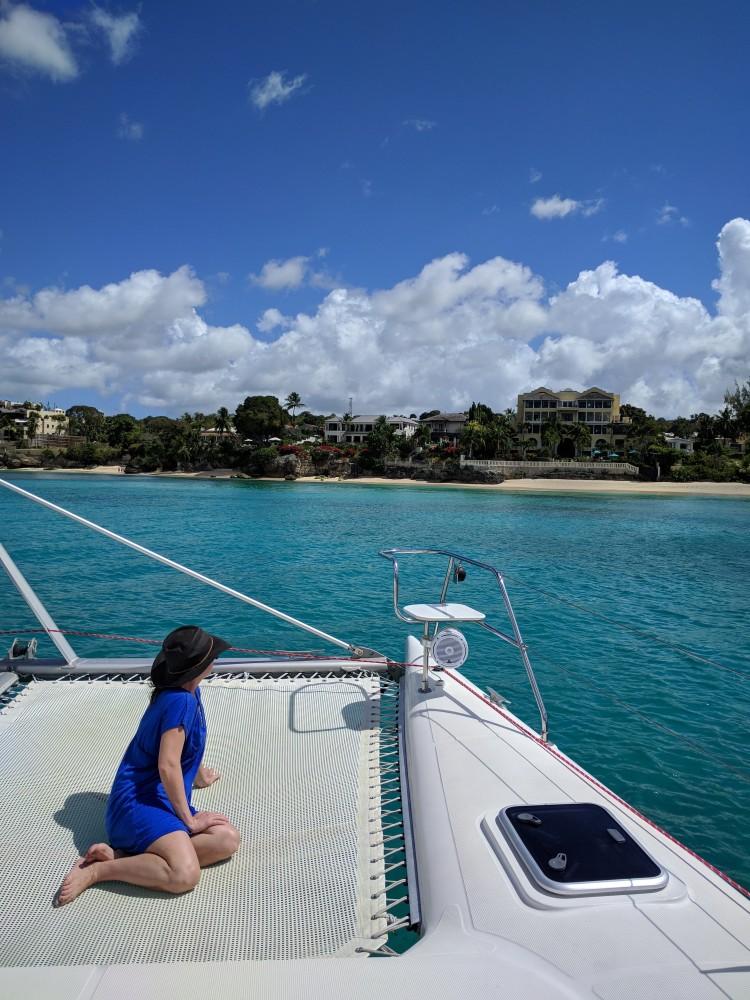 Max on the catamaran