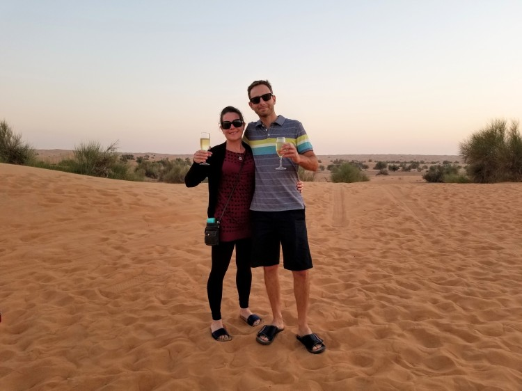 Champagne in the desert at sunset