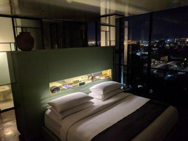 Deluxe Room at night at Casa Habita in Guadalajara