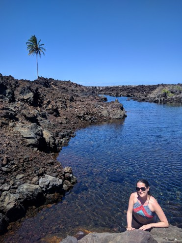 Max in an achialine pool on the Big Island of Hawaii