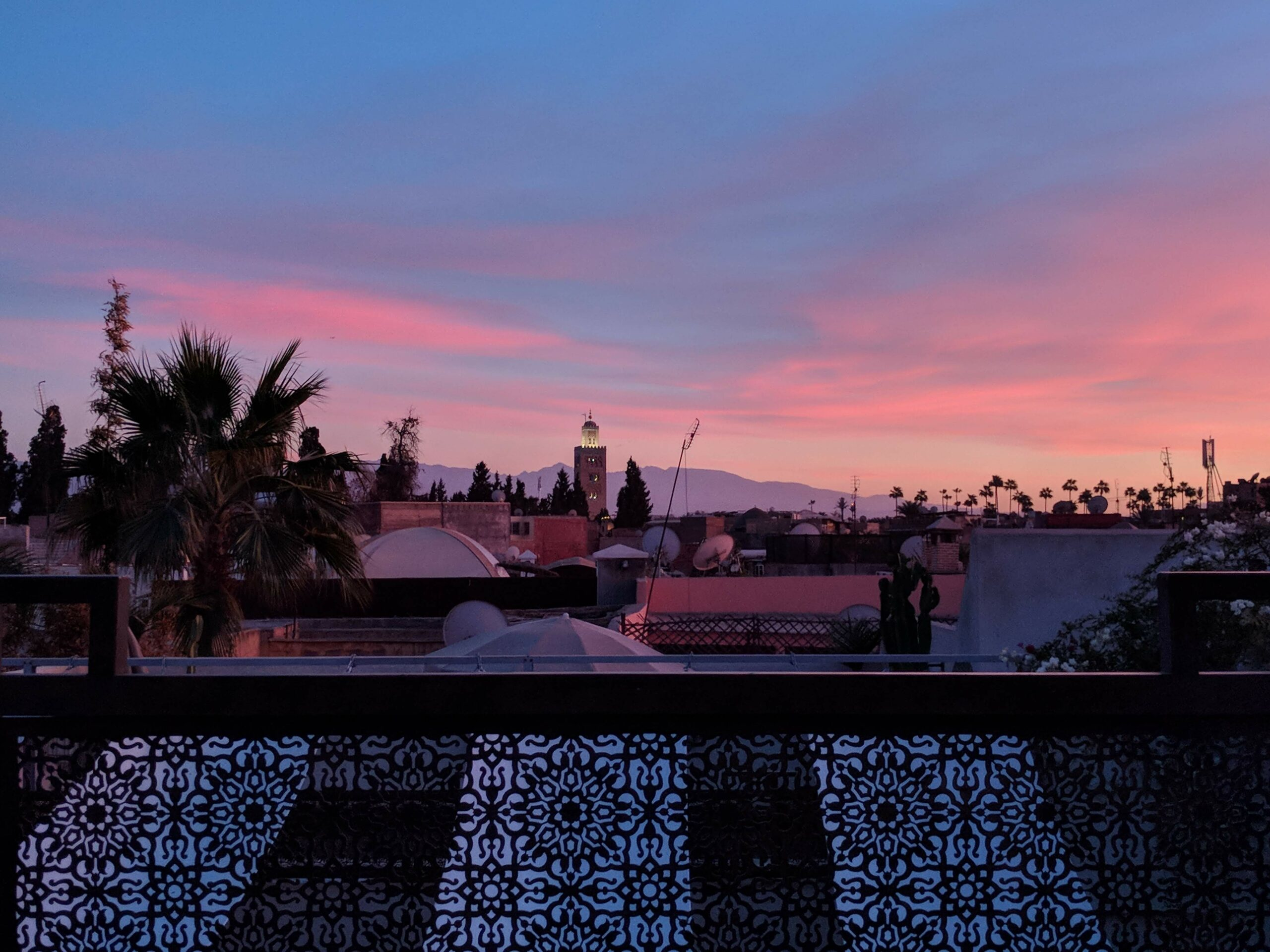 Rooftop terrace at sunset