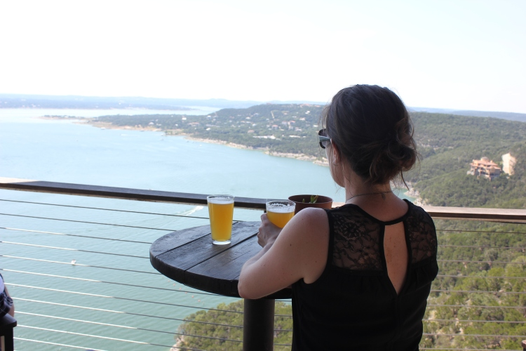 View of Lake Travis at Oasis Texas Brewing