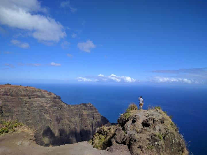 Jason at the end of the Awa'awapuhi Trail in the Koke'e State Park, Kauai