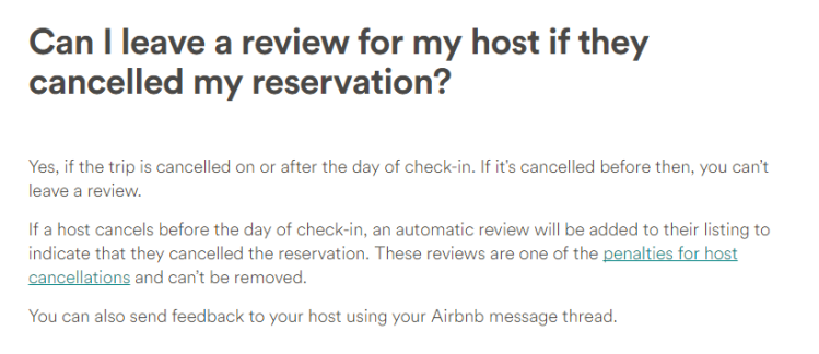 Airbnb Review Policy for Host Cancellations