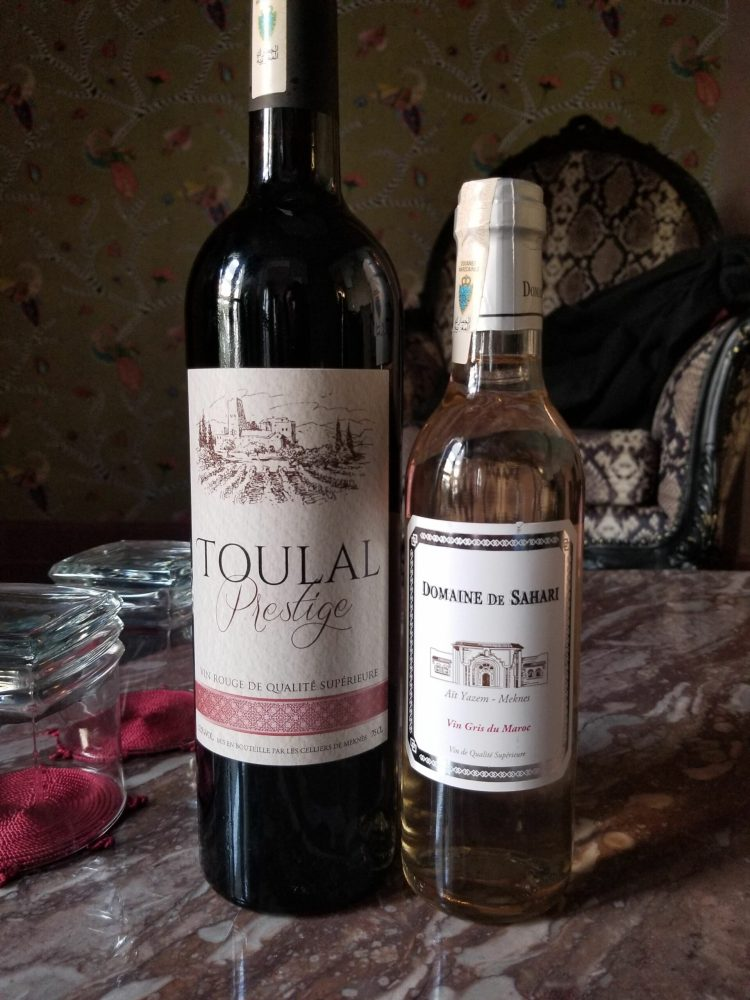 Moroccan wine; Toulal red blend and a vin gris