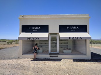 Max window shopping at Prada Marfa in Valentine Texas