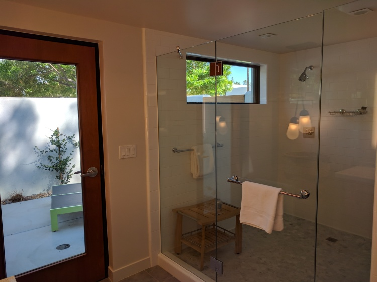 Shower in the Saarinen bungalow at the Andaz Scottsdale