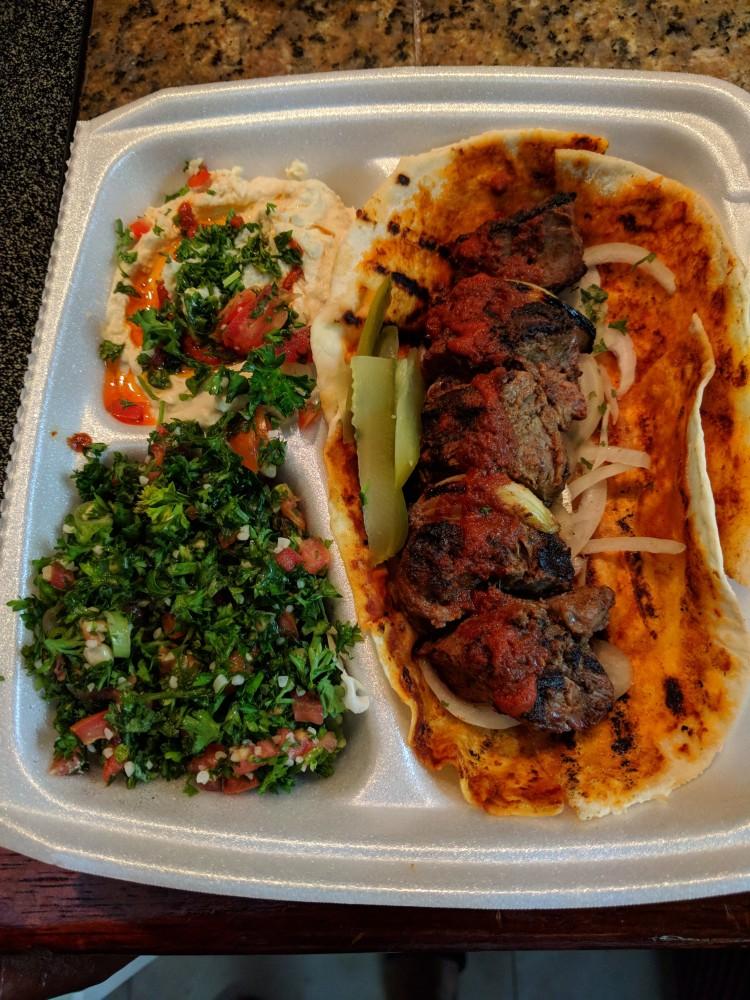 Lamb platter with tabbouleh and hummus from Sahara