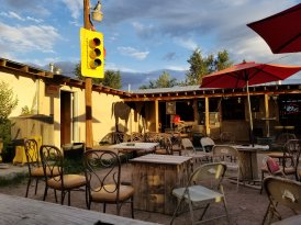 Outdoor patio at the Lost Horse Saloon in Marfa