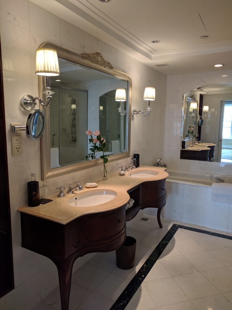 Partial view of the bathroom; lovely white marble at the Park Hyatt Saigon Lam Son Suite