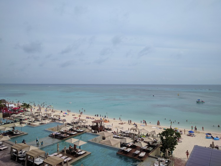 View of the beach from a suite at the Grand Hyatt Playa Del Carmen