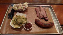 Brisket, sausage, pickles and potato salad at Green Street BBQ