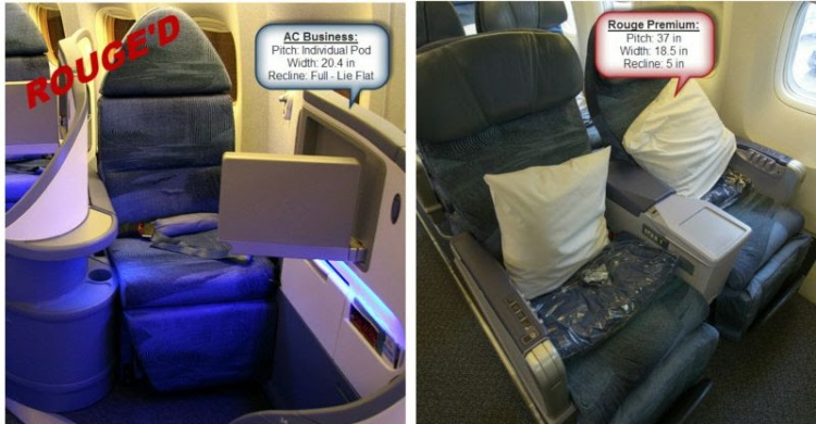 Difference between Air Canada and Rouge seats