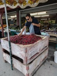 Jason buying cherries in Keremeos