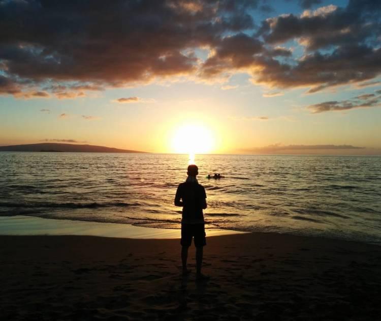 Jason on Wailea Beach at sunset