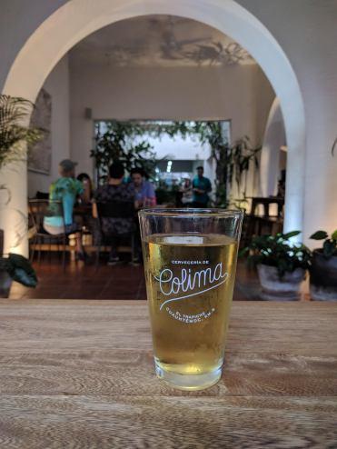 Enjoying a Colima beer, the Cayoco Tropical Ale at Casa Trapiche