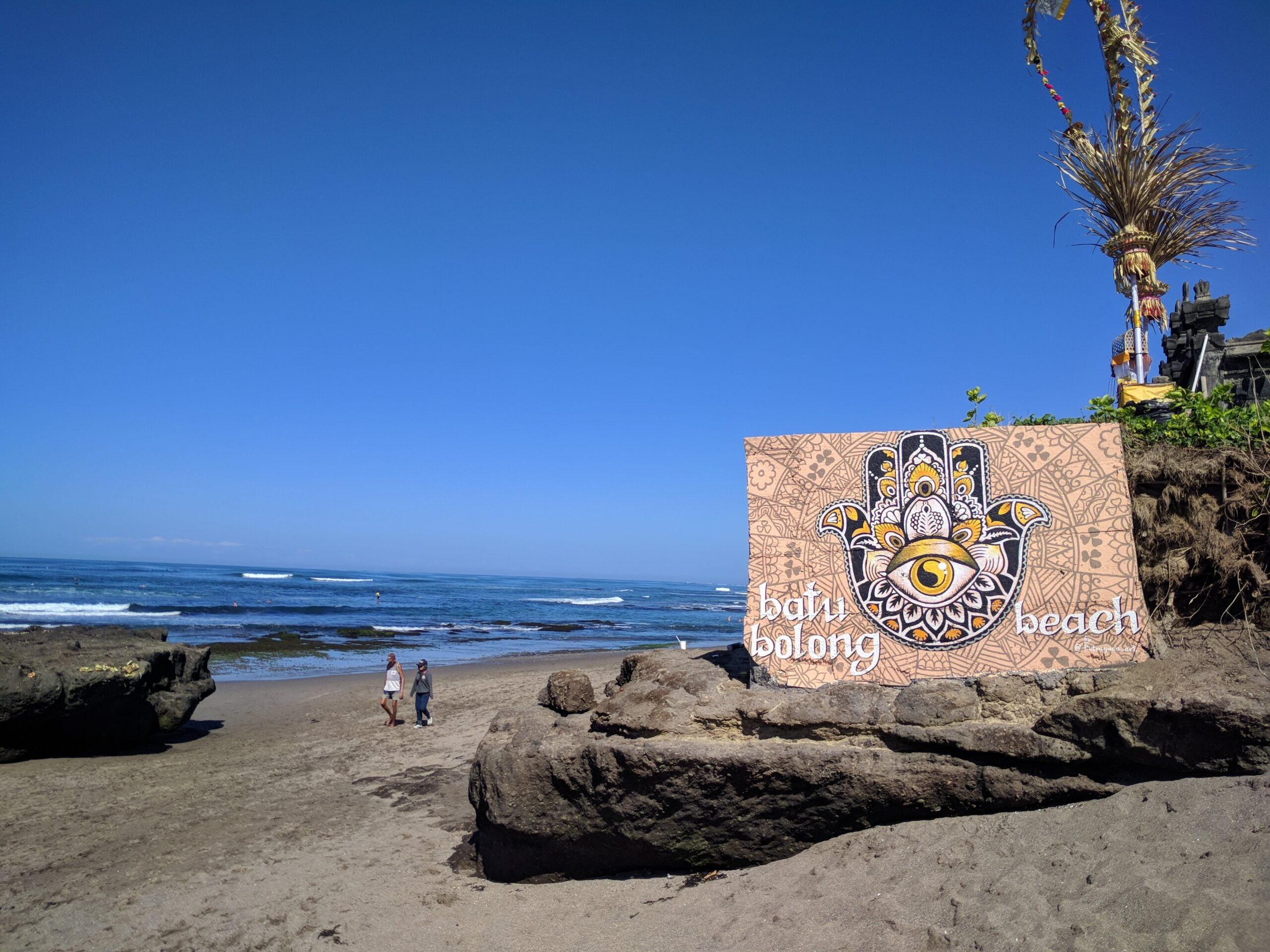 Pantai Batu Bolong in Canggu: once a quiter surfing beach, it is now home to numerous beach bars and soon a large Intercontinental Hotel will be opened here