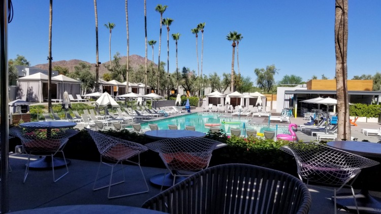 View of the pool from Weft & Warp at the Andaz Scottsdale