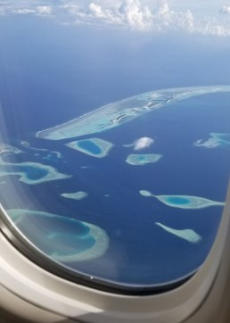 Final approach into the Maldives