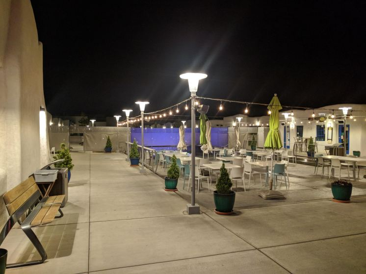 The Plaza at night after it is closed at the El Vado Motel in Albuquerque