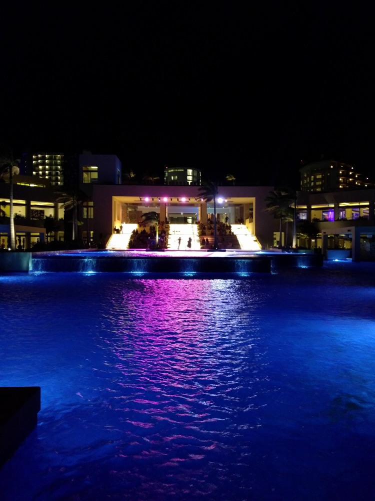 Entertainment at night by the main pool at the Hyatt Ziva Cancun
