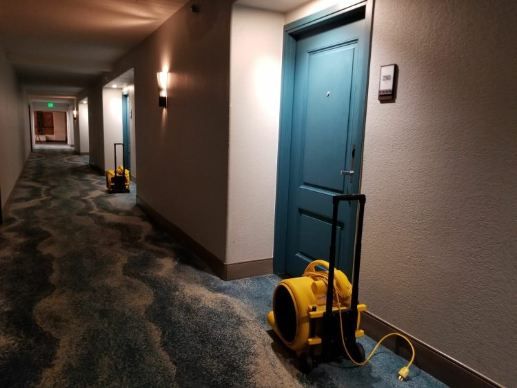 Sheraton Kauai Coconut Beach: the hallways after the flooding due to the storm on Christmas Eve