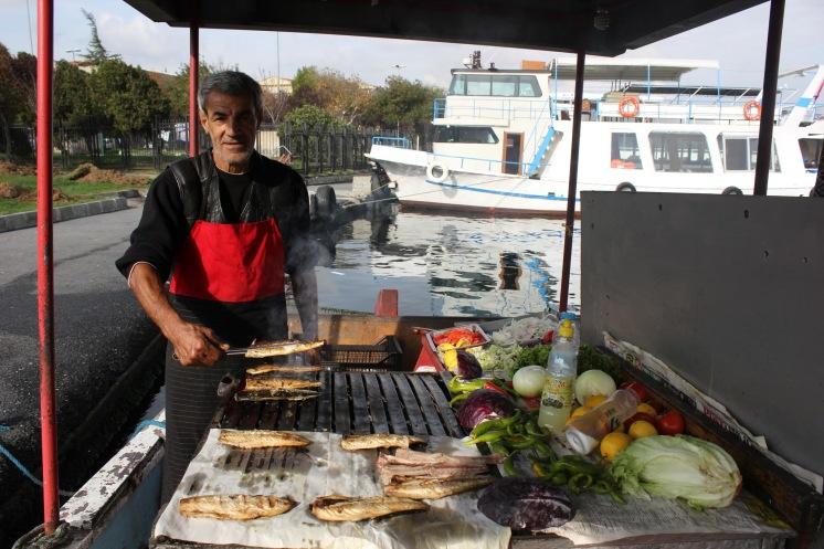 Mercan's Balikcilik: balk ekmek stand on a boat in Istanbul