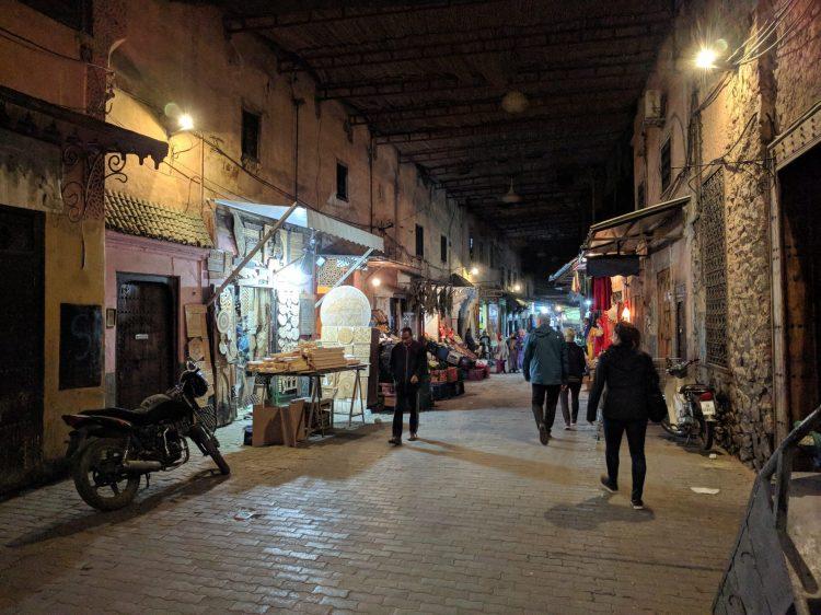 Walking through the medina at night