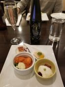 Evening hors d'oeuvres and sparkling sake at the lounge at the Hyatt Regency Tokyo