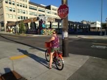 Max using a Biketown bike
