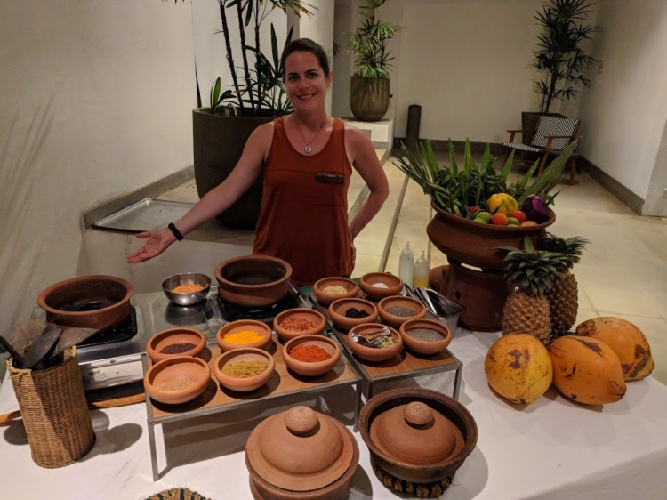 Me with the spices at the cooking demonstration at Fort Bazaar