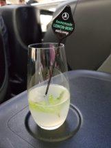 Lemon mint juice served during boarding