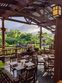 Restaurant seating at AMA in Hanalei