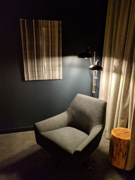 Seating area in our room at Hotel Saint George in Marfa