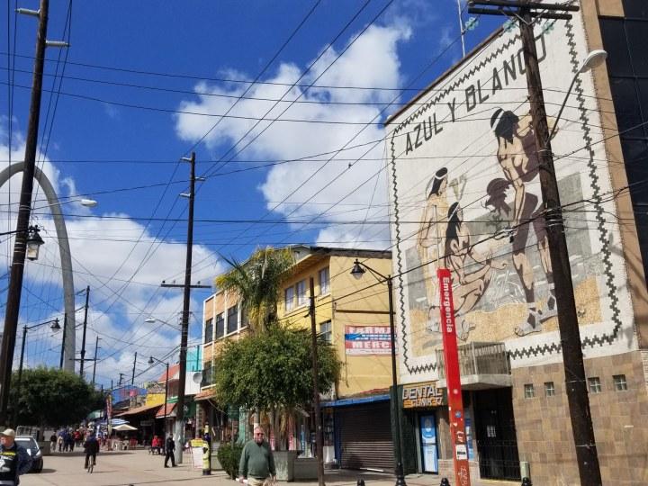 Tijuana town once you cross the pedestrian overpass