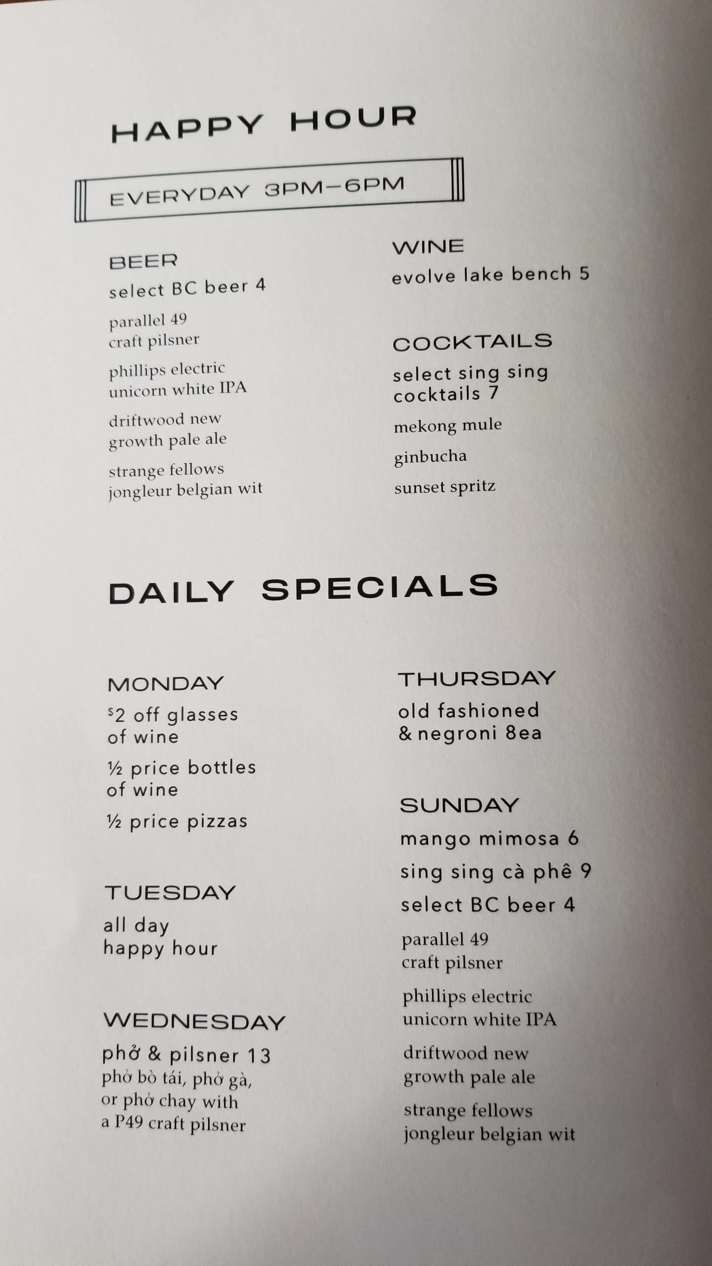 Happy Hour and Daily Specials at Sing Sing Beer Bar