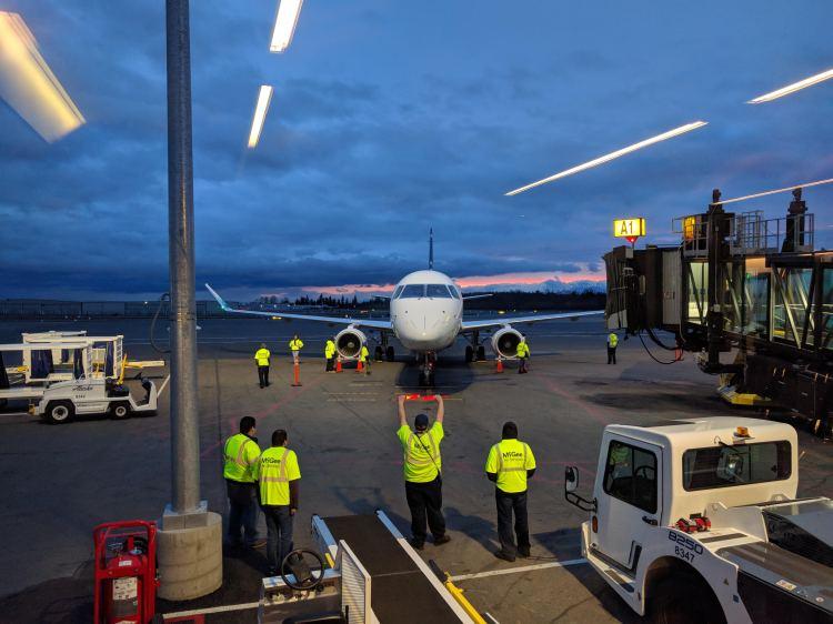 Arrival of an Alaska Airlines flight