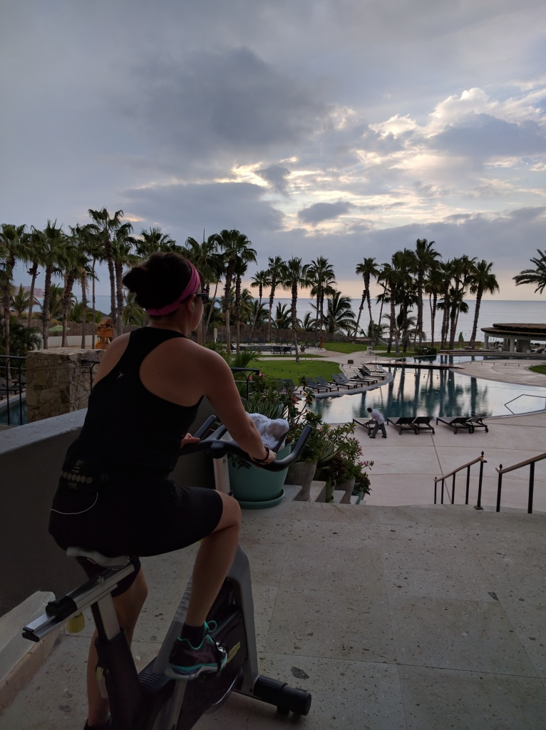 Gym at the Hilton Los Cabos resort, one of my favorite Hilton's. They put spin bikes outside, best workout ever!