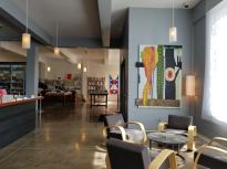 Lobby and bookstore at Hotel Saint George in Marfa