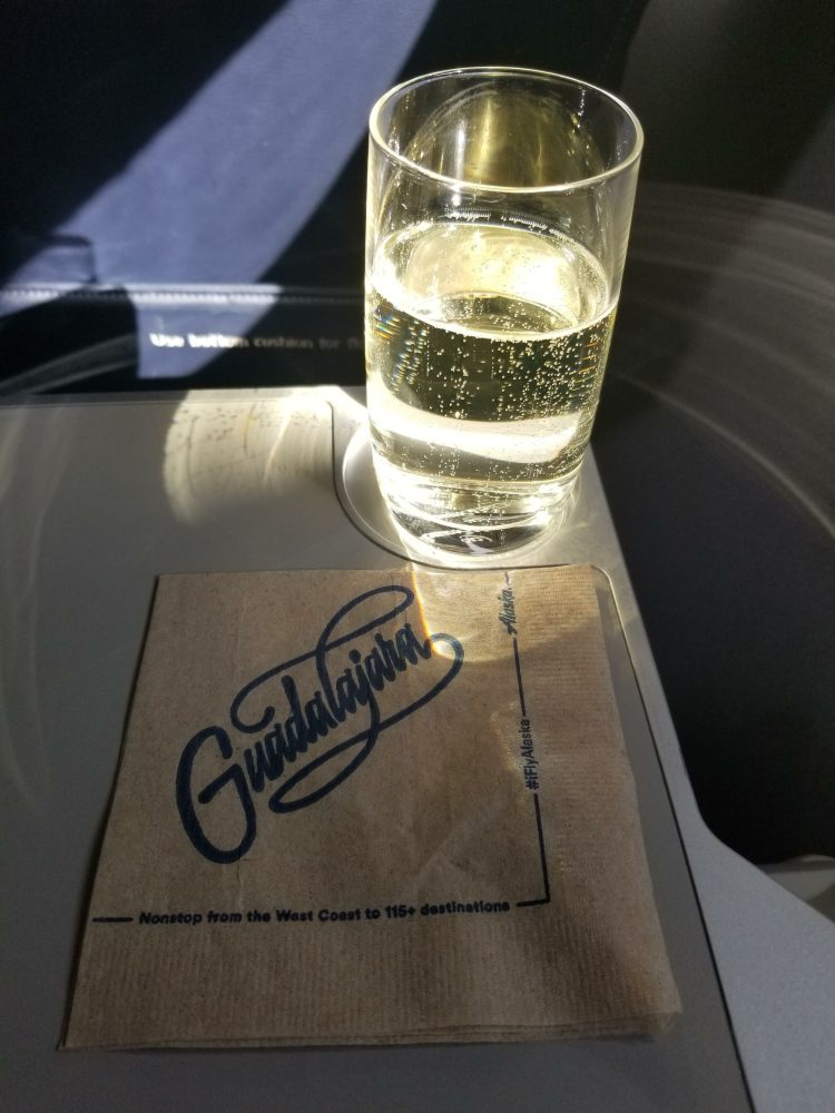 Sparkling wine on our flight to Guadalajara in First Class on Alaska Airlines
