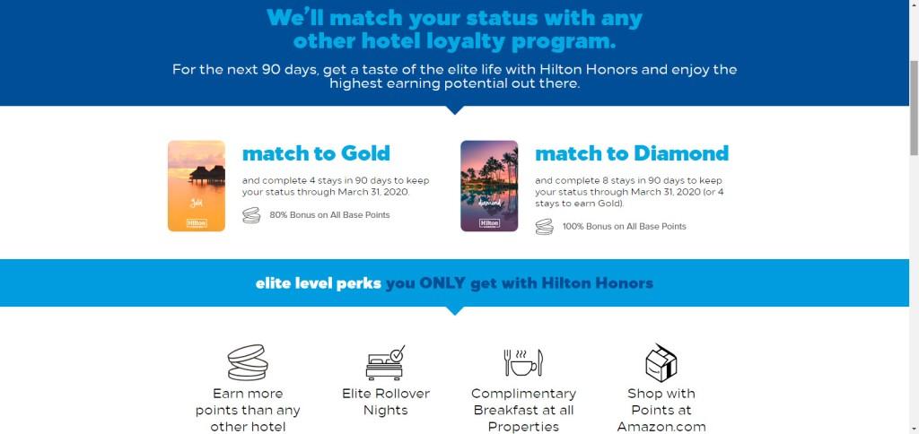 Hilton Honours Status Match Offer