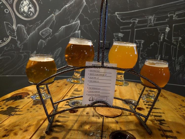 Tasting flight at Beer Lab HI