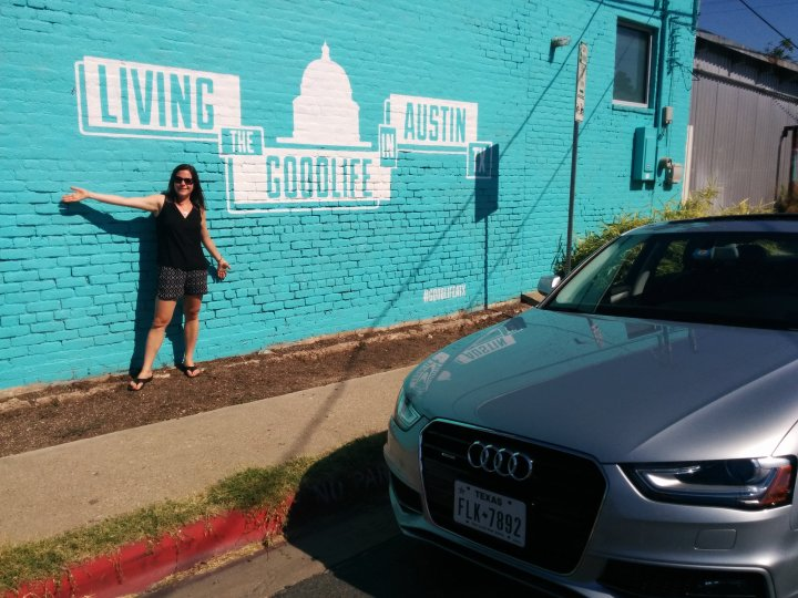 Austin mural and our Audi A4 from Silvercar