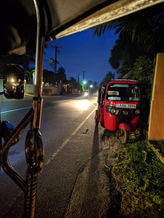 Tuk tuk at night in Galle