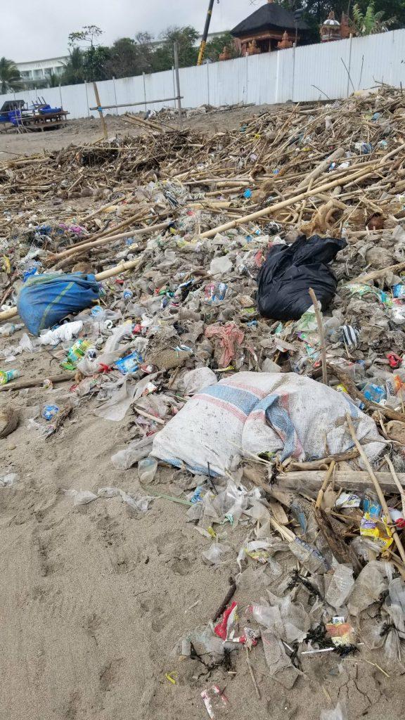 Garbage on Seminyak Beach in December 2018