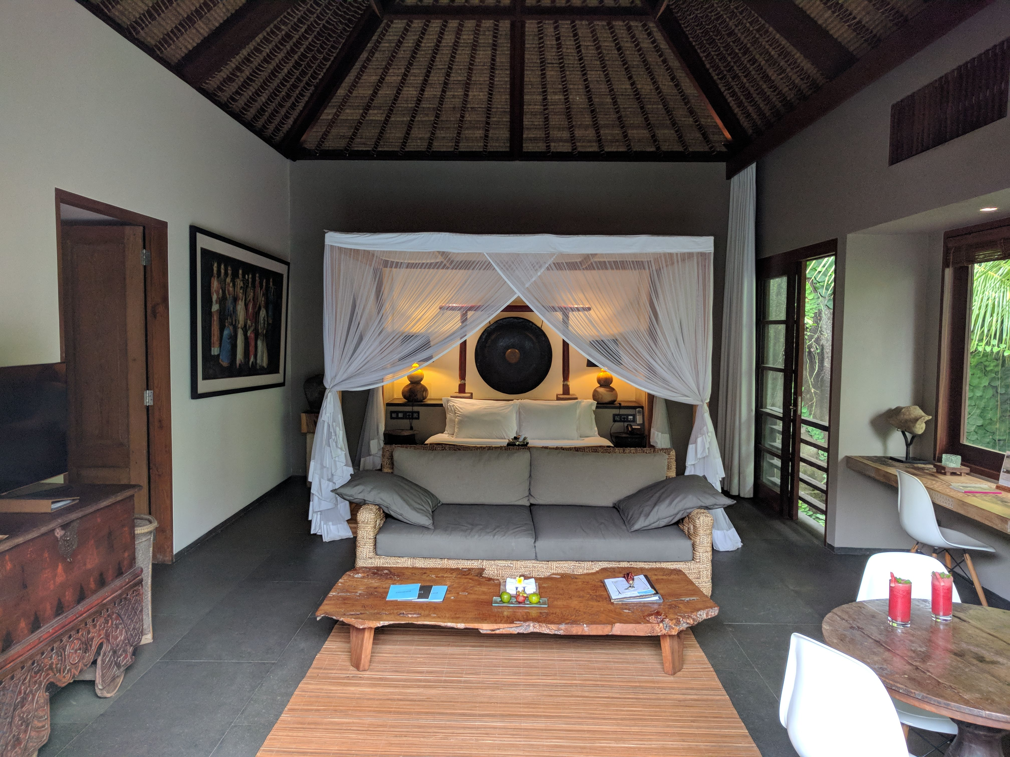 Bamboo Villa living area, bedroom, and sofa bed