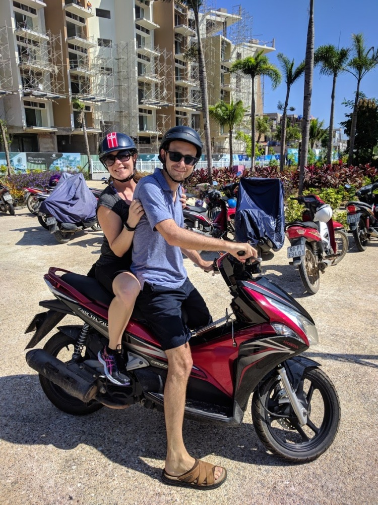 JW Marriott Phu Quoc Resort at Emerald Bay - Max and Jason on the motorbike they rented